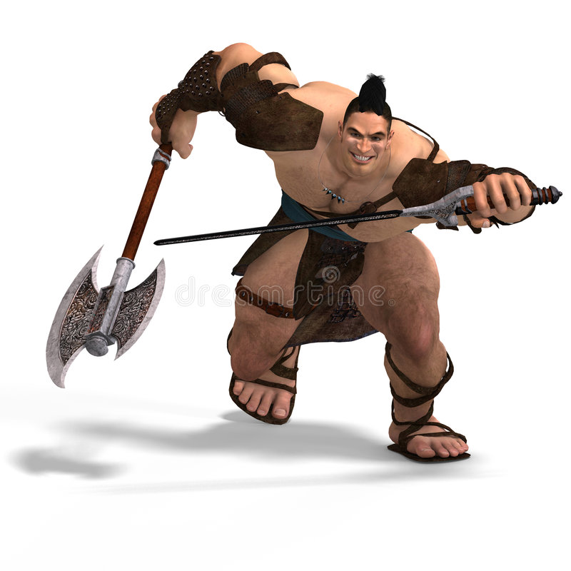 Lucha bárbara muscular con la espada y el hacha ilustración del vector
