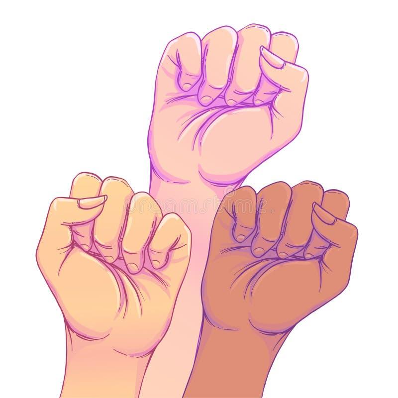 Lucha como una muchacha Las 3 manos de la mujer con su puño aumentado para arriba Chica stock de ilustración