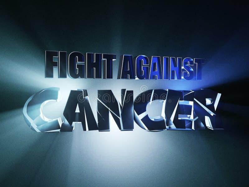 Lucha contra cáncer concepto de diseño de la bandera del ejemplo 3d, en fondo azul libre illustration