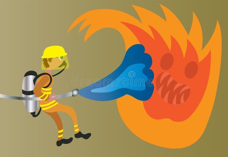 Lucha contra el fuego feroz ilustración del vector