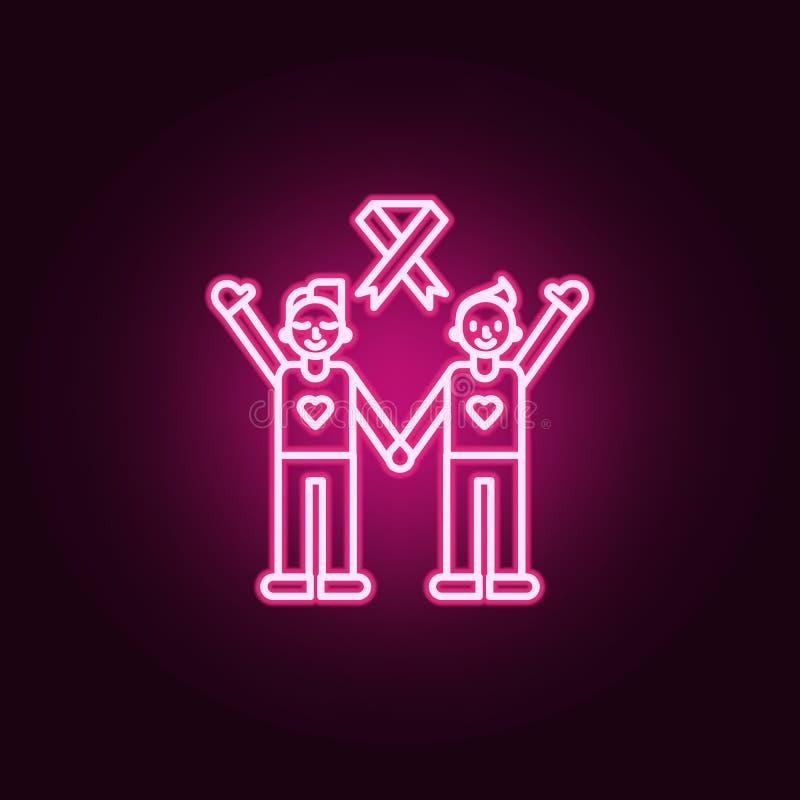 lucha contra icono del cáncer Elementos del día del cáncer en los iconos de neón del estilo Icono simple para las páginas web, di libre illustration