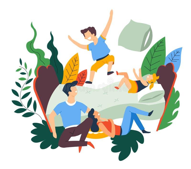 Lucha de almohada del pasatiempo del ocio de la familia y salto en cama stock de ilustración