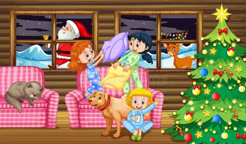Lucha de almohada de los niños en la noche stock de ilustración
