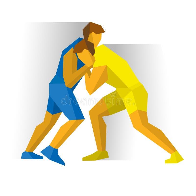 Lucha de estilo libre grecorromana Competencia de dos combatientes stock de ilustración