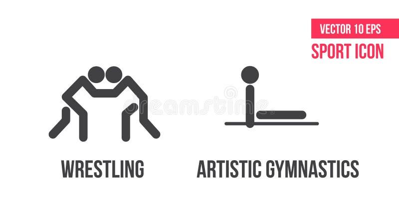 Lucha de estilo libre, iconos artísticos de lucha grecorromanos del deporte de la gimnasia del und, logotipo pictograma del atlet ilustración del vector