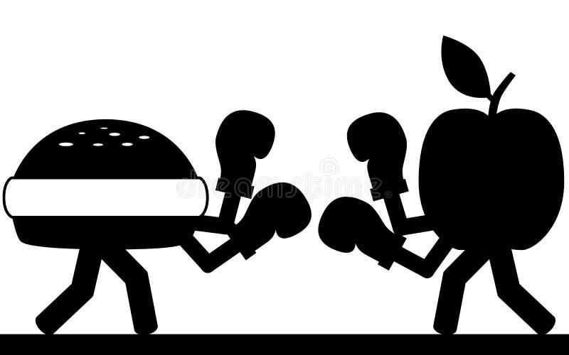 Lucha de la comida ilustración del vector