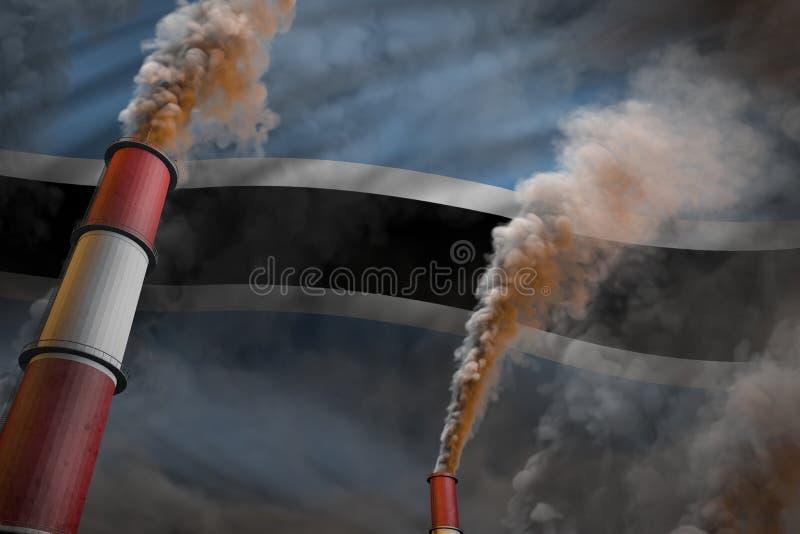 Lucha de la contaminación en el concepto de Botswana - ejemplo industrial 3D de dos chimeneas grandes de la industria con humo pe ilustración del vector