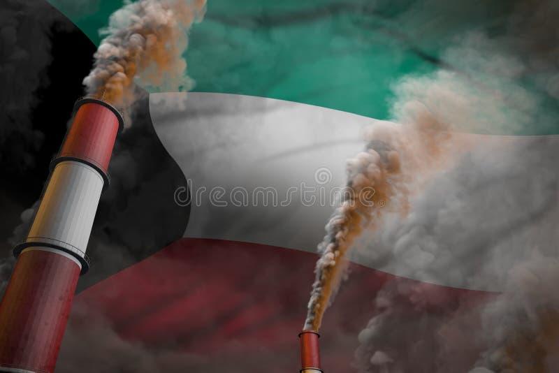 Lucha de la contaminación en el concepto de Kuwait - ejemplo industrial 3D de dos tubos grandes de la fábrica con humo pesado en  libre illustration