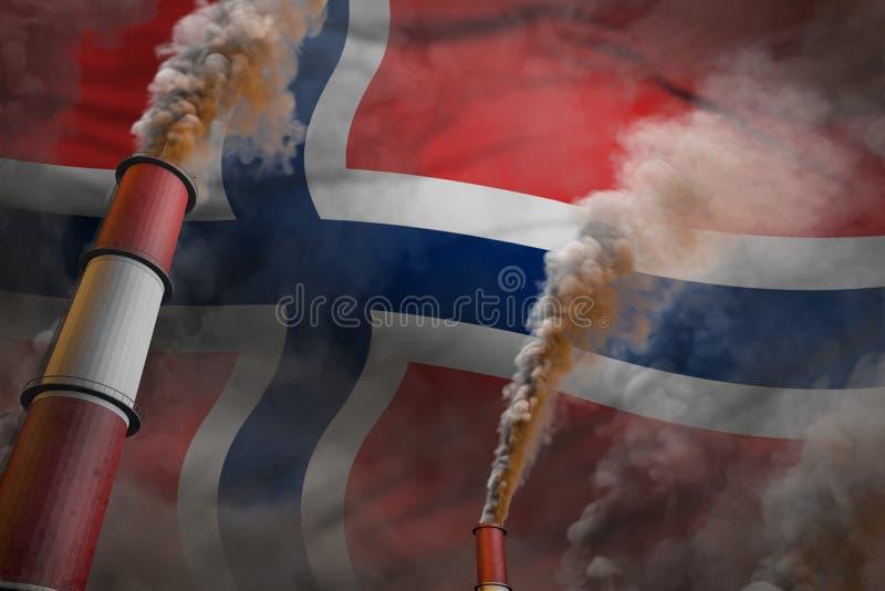 Lucha de la contaminación en el concepto de Noruega - ejemplo industrial 3D de dos tubos industriales grandes con humo pesado en  libre illustration