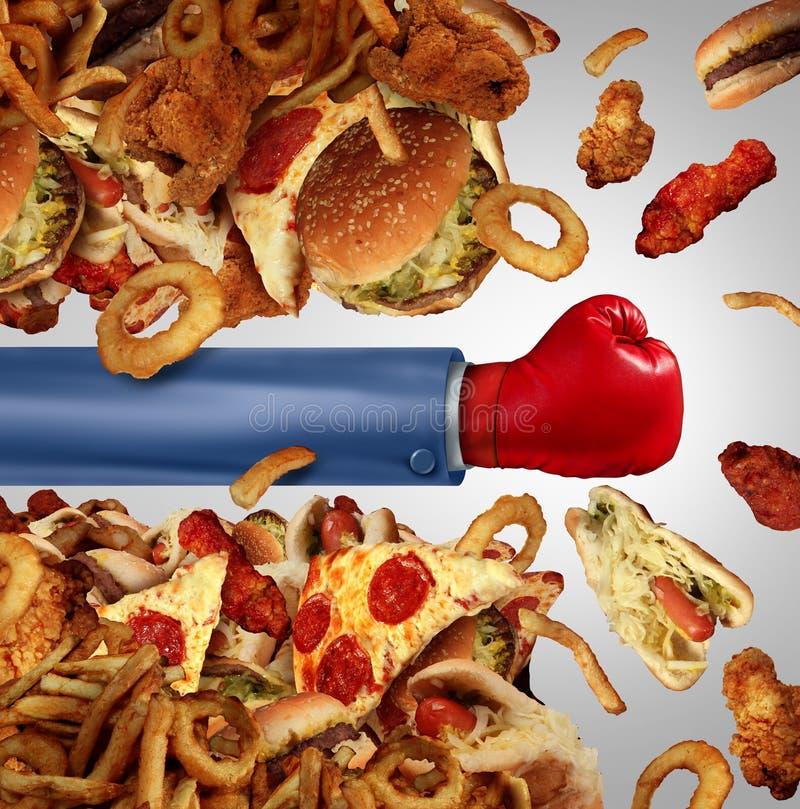 Lucha de la dieta de la aptitud stock de ilustración