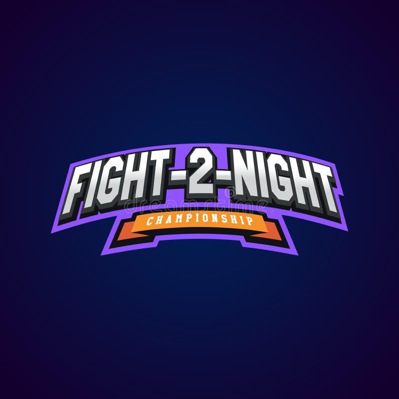 Lucha de la noche Los artes marciales mezclados se divierten el logotipo en fondo oscuro stock de ilustración