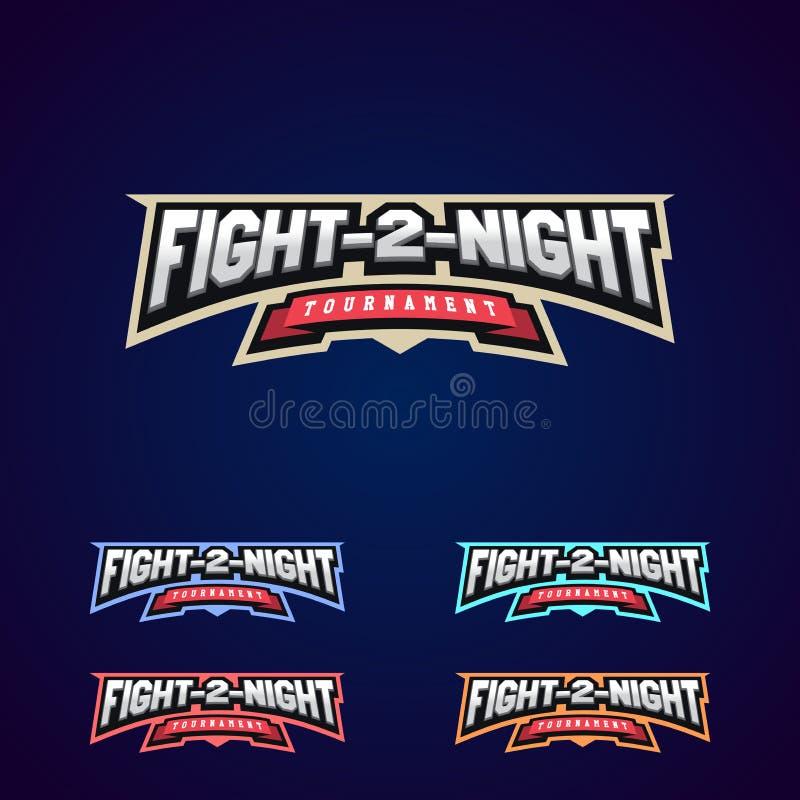 Lucha de la noche Los artes marciales mezclados se divierten el logotipo en fondo oscuro libre illustration