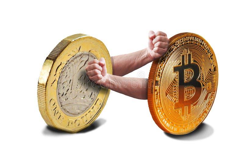 Lucha de los fisticuffs del cryptocurrency de Bitcoin imágenes de archivo libres de regalías