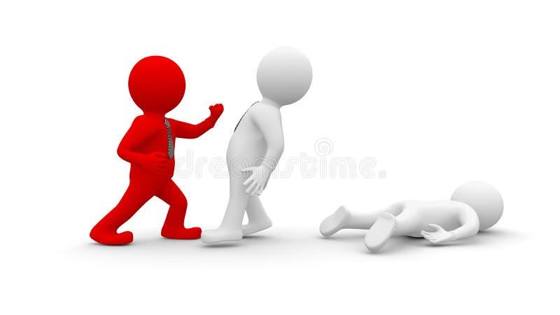 Lucha de los hombres blancos con la gente roja stock de ilustración