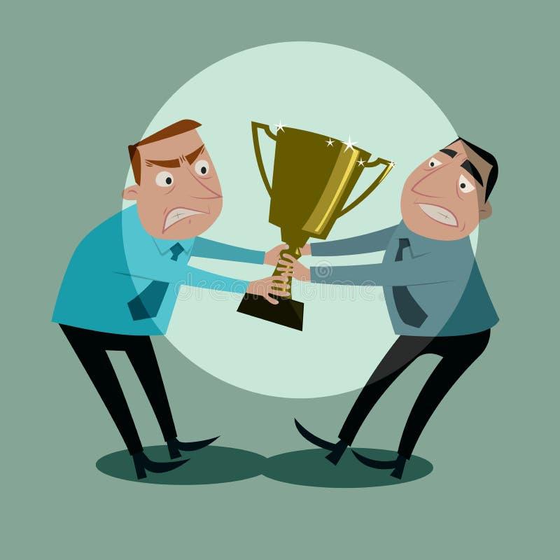 Lucha de los hombres de negocios para el trofeo stock de ilustración