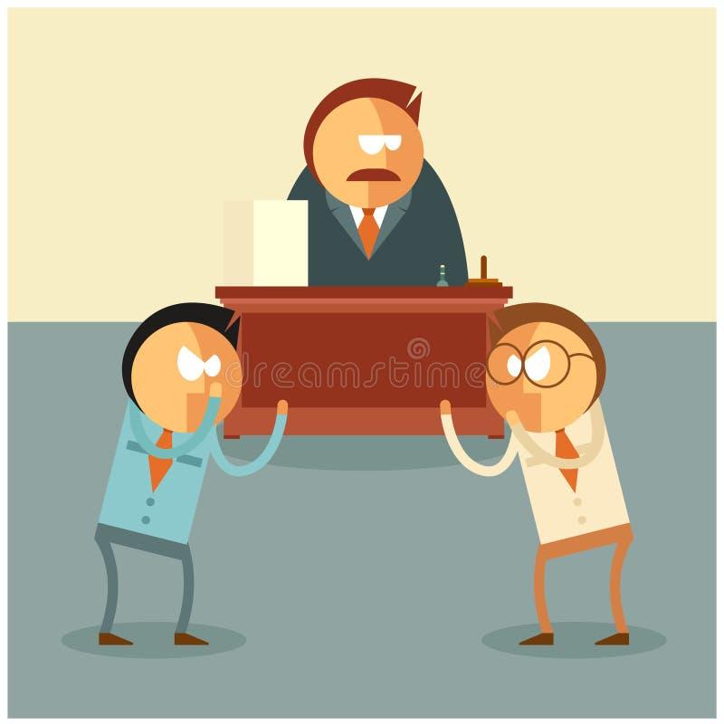 Lucha de los hombres de negocios para su jefe stock de ilustración