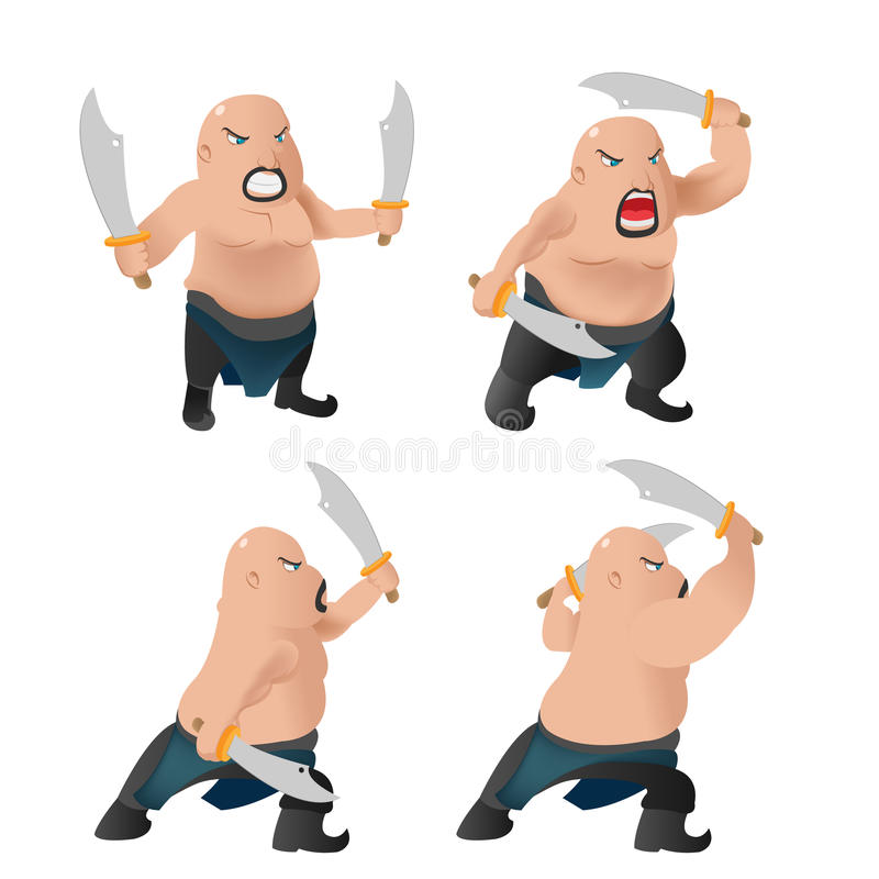 Lucha del carácter del viejo hombre del guerrero libre illustration