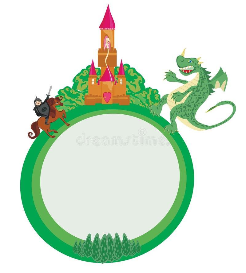 Lucha del dragón y del caballero, ejemplo del vector libre illustration