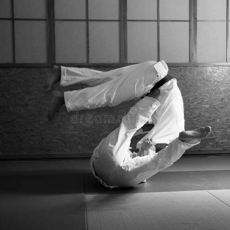 Lucha del judo fotografía de archivo