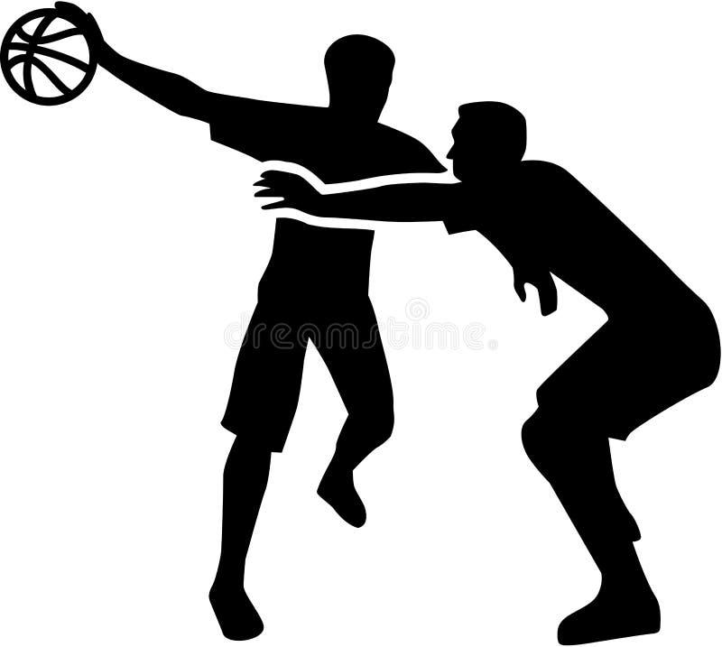 Lucha del jugador de básquet en la acción ilustración del vector