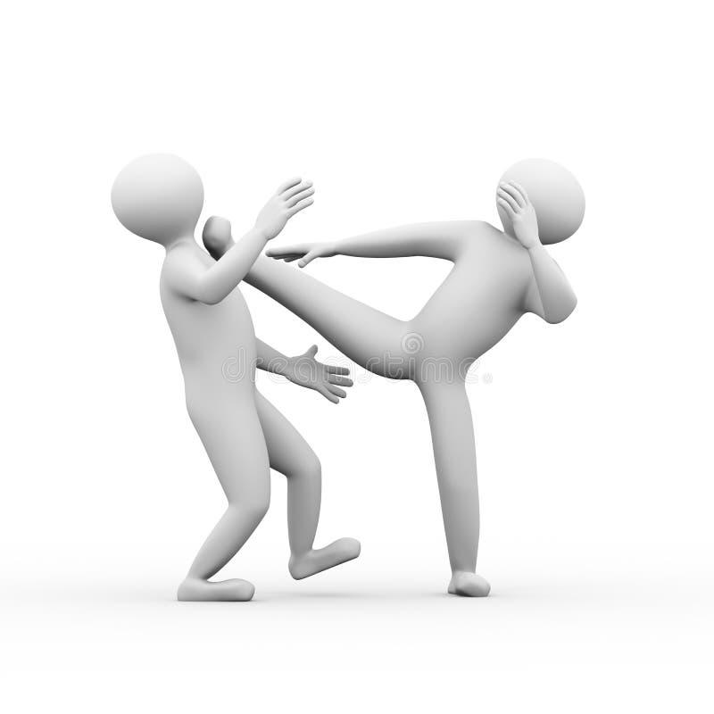 lucha del kungfu de la gente 3d stock de ilustración