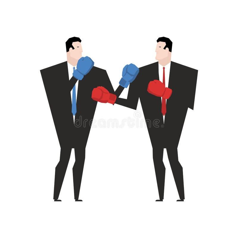Lucha del negocio Hombre de negocios con los guantes de boxeo Lucha de la oficina ilustración del vector