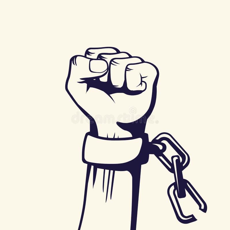 Lucha del vector del estilo del vintage para el cartel de la libertad stock de ilustración