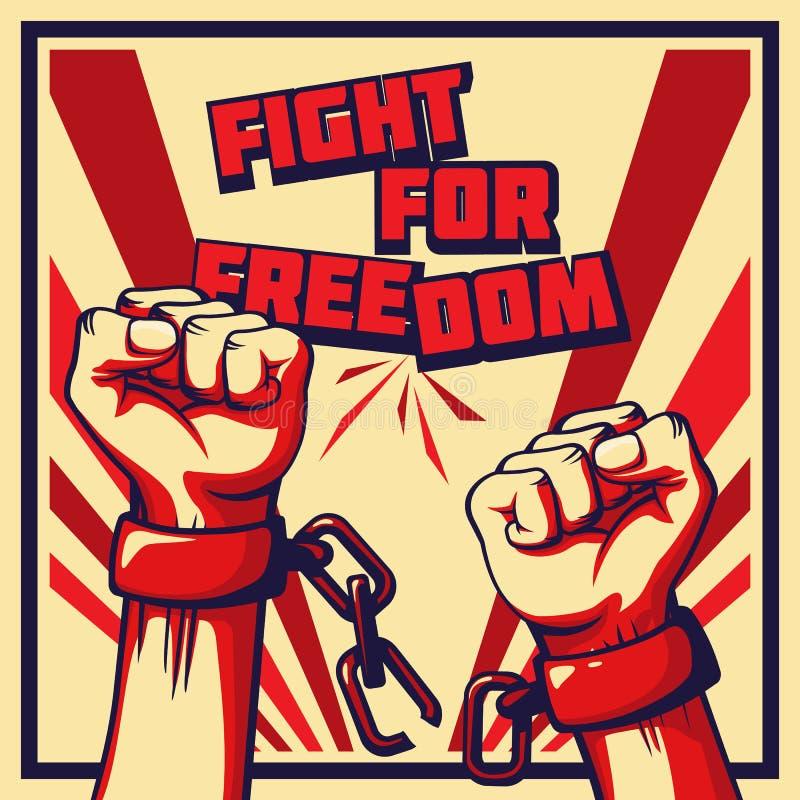 Lucha del vector del estilo del vintage para el cartel de la libertad libre illustration
