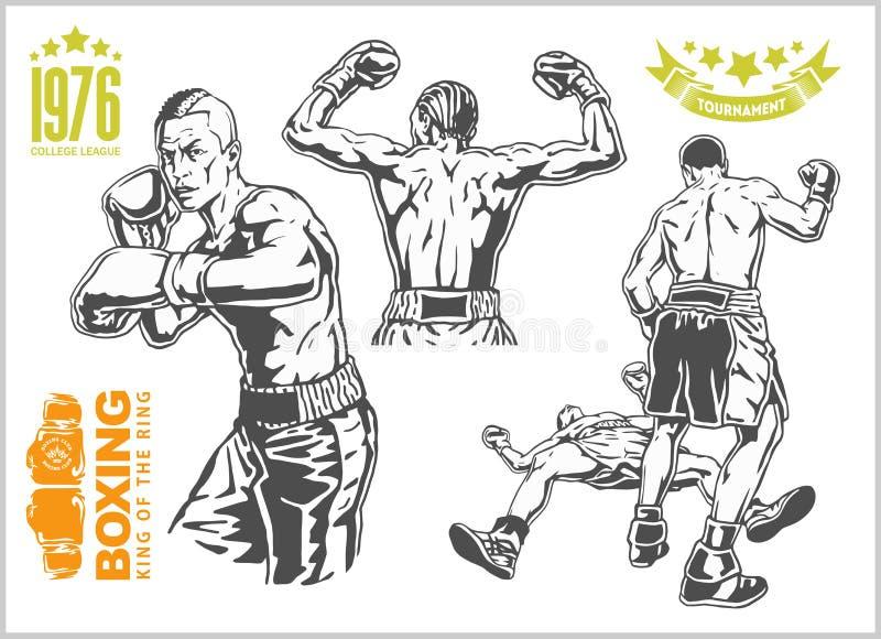 Lucha entre dos boxeadores - sistema de ejemplos monocromáticos Emblemas más del boxeo del vintage, etiquetas, insignias, logotip ilustración del vector