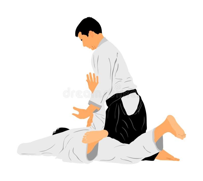 Lucha entre el ejemplo del símbolo de dos combatientes del aikido Entrenamiento en la acción de entrenamiento mujer en un carril  stock de ilustración