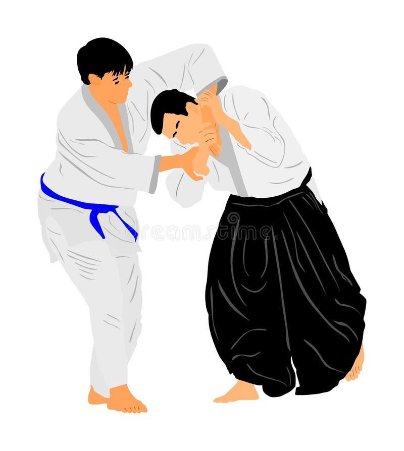 Lucha entre el ejemplo del símbolo de dos combatientes del aikido Entrenamiento en la acción de entrenamiento mujer en un carril  libre illustration
