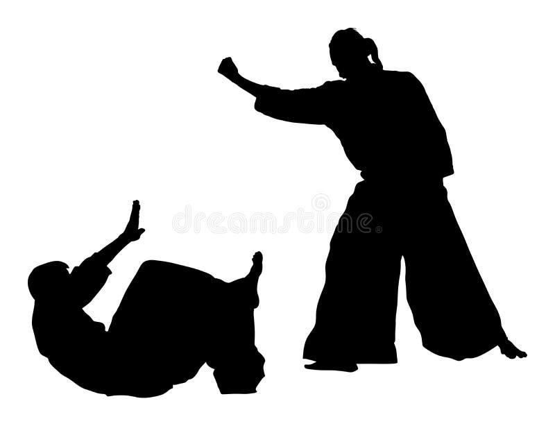 Lucha entre la silueta de dos combatientes del aikido ilustración del vector