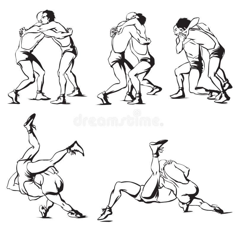 Lucha grecorromana stock de ilustración