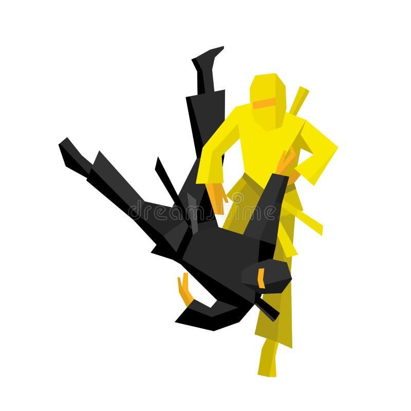 Lucha japonesa de dos guerreros del ninja ilustración del vector