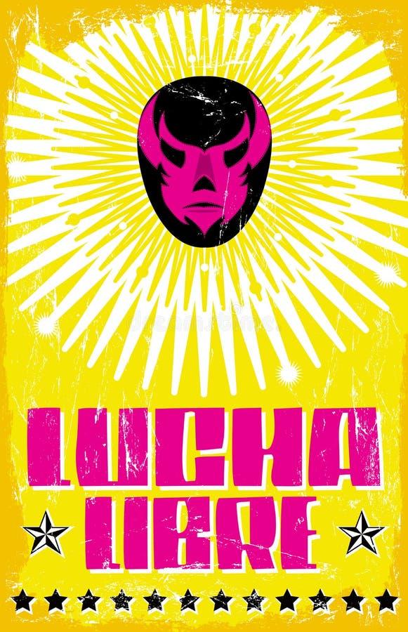 Lucha Libre -搏斗的西班牙文本 皇族释放例证