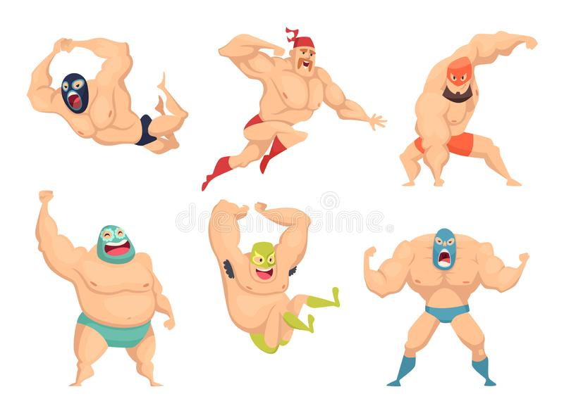 Lucha libre characters. Mexican wrestler fighters in mask macho libros vector martial cartoon mascot. Illustration of mexican wrestler, fighter wrestling vector illustration