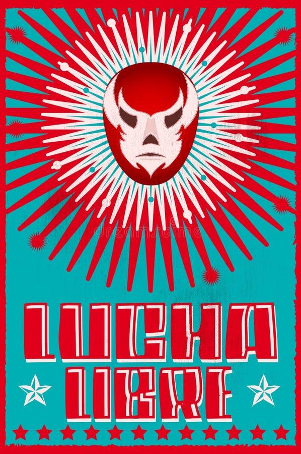 Lucha Libre die het Spaanse masker van de tekst Mexicaanse worstelaar worstelen silkscreen affiche vector illustratie
