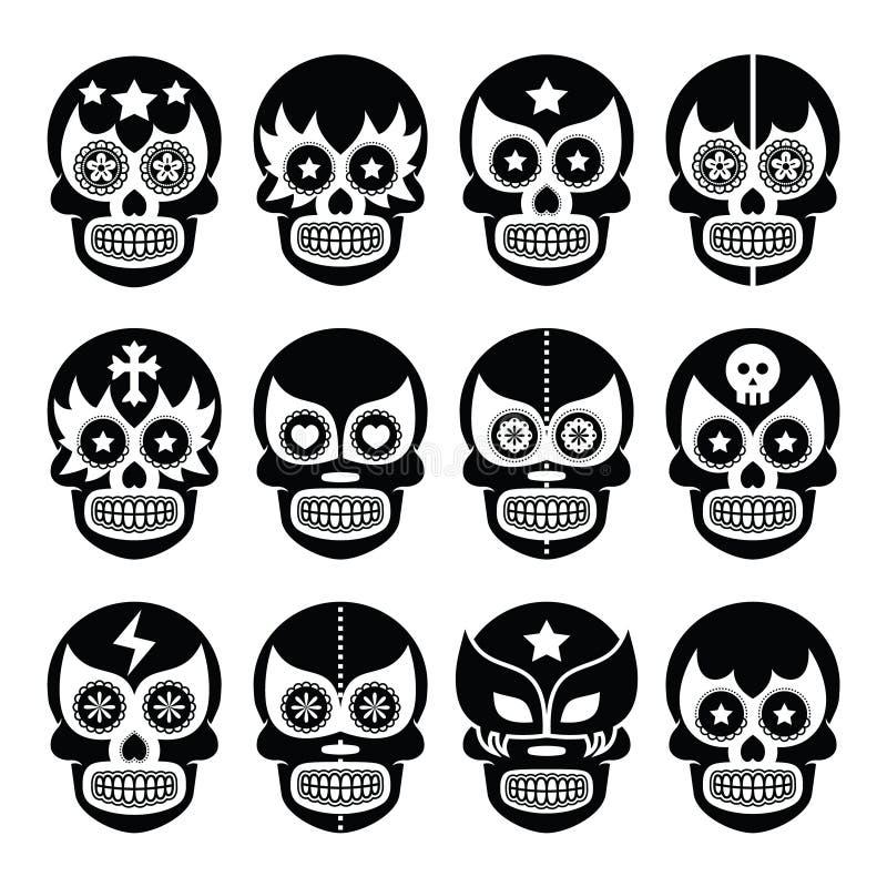 Lucha Libre - il cranio messicano dello zucchero maschera le icone nere illustrazione vettoriale