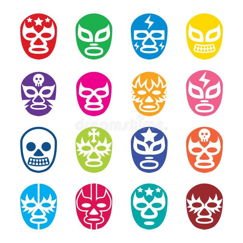 Lucha Libre, Luchador ikony, Meksykańskie zapaśnictwo maski royalty ilustracja