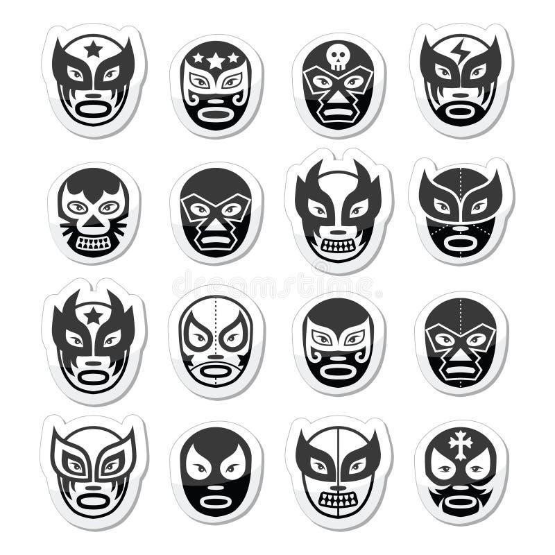 Lucha libre, luchador Meksykański zapaśniczy czerń maskuje ikony royalty ilustracja