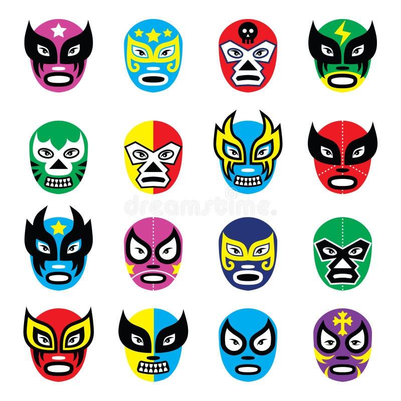 Lucha libre, luchador Mexicaanse het worstelen maskers royalty-vrije illustratie
