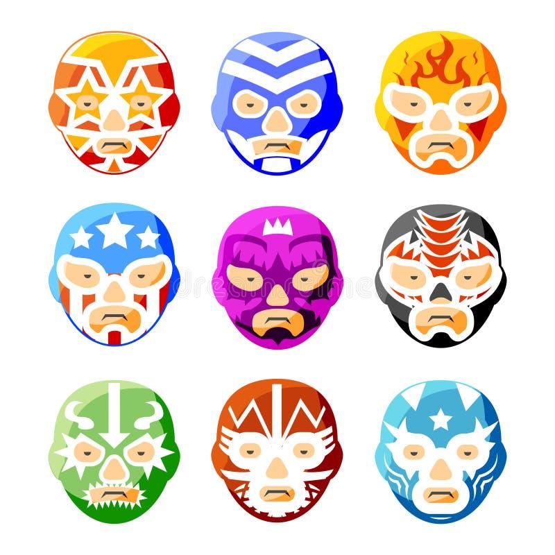 Lucha libre, luchador Mexicaanse het worstelen maskers stock illustratie