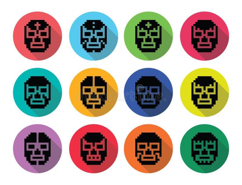 Lucha Libre, luchador pixelated мексиканские wrestling значки черноты маск иллюстрация штока