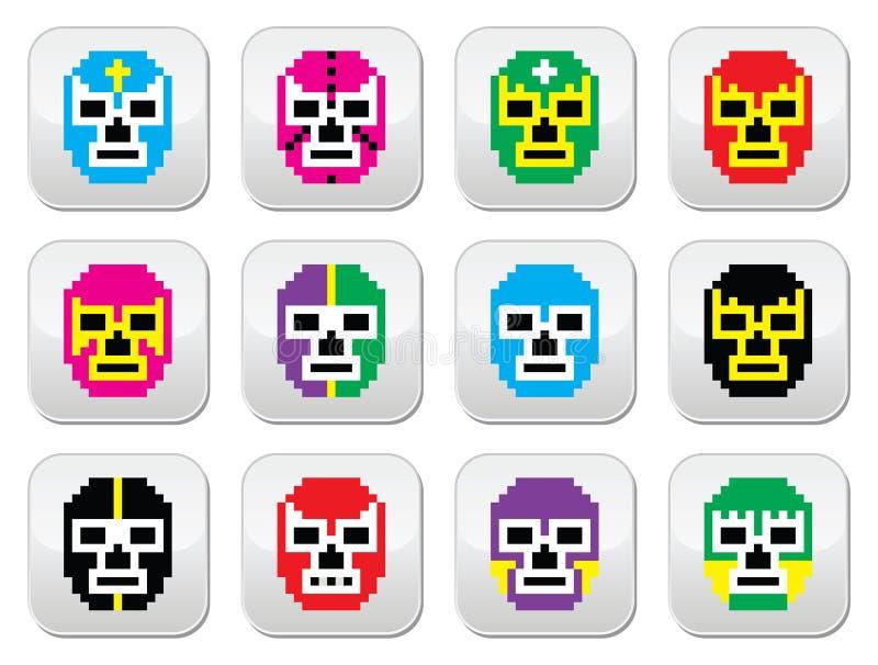 Lucha Libre, luchador pixelated мексиканские wrestling кнопки маск иллюстрация штока