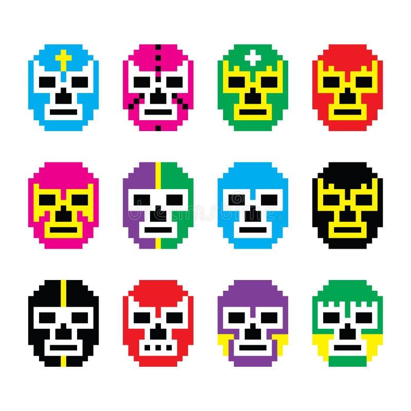 Lucha Libre, luchador pixelated Meksykański zapaśnictwo maskuje ikony ilustracja wektor