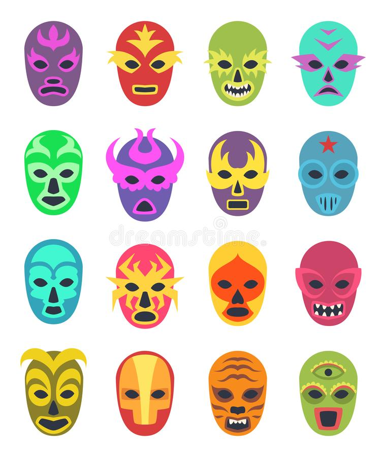 Lucha libre mask. Martial wrestler fighter clothes sport uniform colored masks vector colored icon. Illustration of mask wrestling, latino mexican costume royalty free illustration