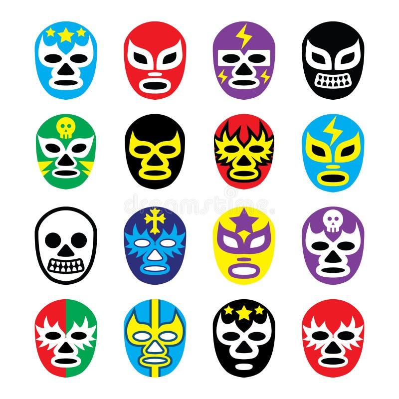 Lucha libre meksykański zapaśnictwo maskuje ikony ilustracja wektor