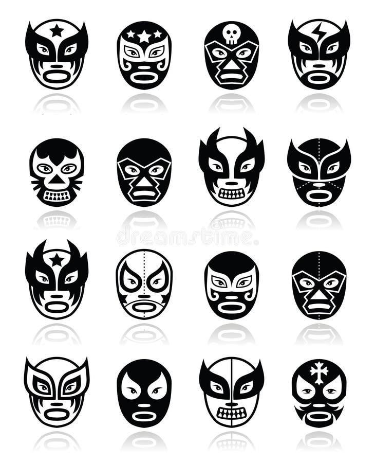 Lucha libre, meksykańskie zapaśnicze ikony royalty ilustracja