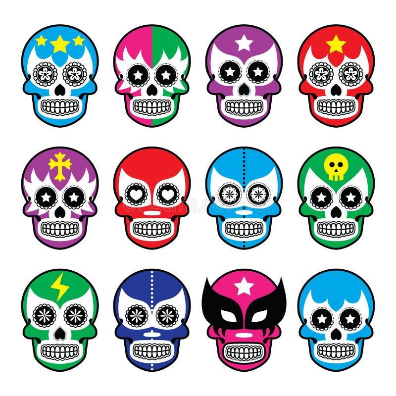 Lucha Libre - o crânio do açúcar mascara ícones ilustração stock