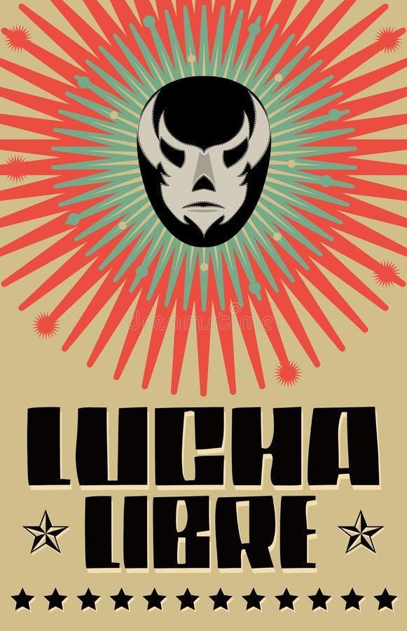 Lucha Libre - wrestling испанский текст иллюстрация вектора